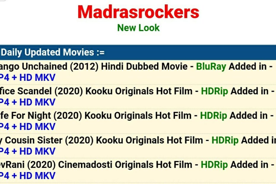 Madras Rockers 2021: New HD Tamil Dubbed Movies Download Free